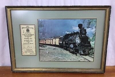 1968 Framed Denver and Rio Grande Western Railroad Co. Souvenir Ticket & Picture