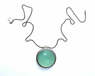 One Of A Kind Hand Made 925 Silver Roman Glass Pendant Necklace