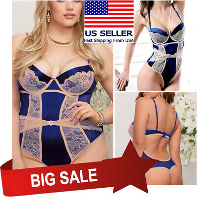 Navy/Beige Floral Lace Wired Teddy Bodysuit Thong Boudoir Set Lingerie M-5XL US