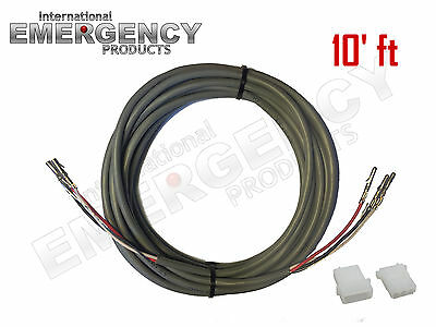 10' ft Strobe Cable 3 Wire Power Supply Shielded for Whelen Federal Signal Code3