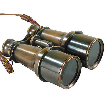 "Solid Brass Victorian Binoculars 6.25"" Antiqued Bronze Finish Nautical Marine"