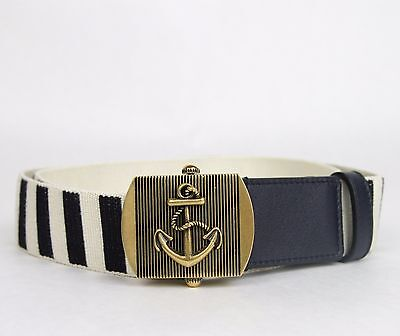 1a2824db433 New Gucci Men s Navy White Fabric Belt Military Anchor Brass Buckle 375191  4056