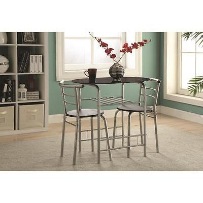 Industrial Black and Silver 3 Piece Dining Table & Chair Set  by Coaster 150129