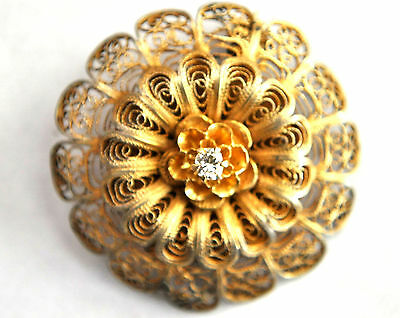 Antique Gold Gilded Sterling Silver Filigree Pin With Natural Diamond