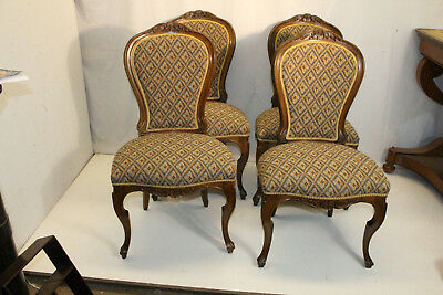 Art Nouveau Walnut Dining Side Chairs, New Upholstery