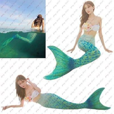 New Kids Girls Swimmable Mermaid Tails with Monofin Swimwear Cosplay Costume