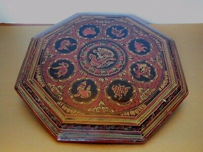"""Rr412 Indonesia Burma Engraved Lacquer Octagonal Tray 12 3/4"""""""