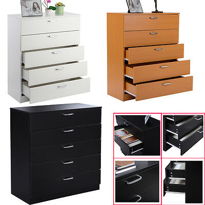 Wide Chest of 5 Drawers Bedroom Furniture W/Anti-Bowing Drawer Support W/Handles