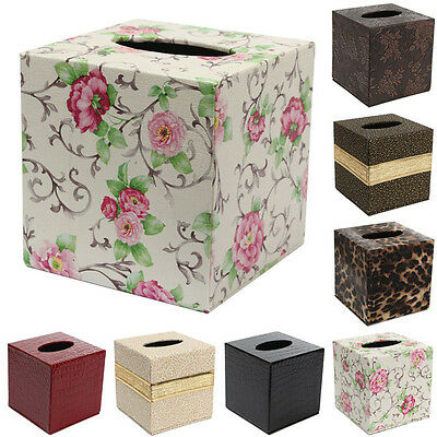 Durable Home Car Rectangle PU Leather Tissue Box Paper Napkin Holder Case Cover