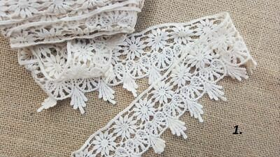 2m Vintage Cotton crochet lace trim CREAM  IVORY Ribbon wedding/cake decoration