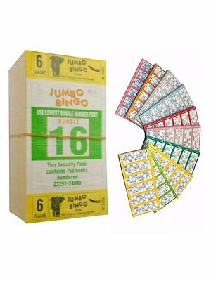 750 Books 6 Page (Games) 6 To View (Strips Of) Jumbo Bingo Tickets Sheet