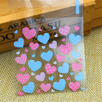 100Pcs Cellophane Cookie Wedding Birthday Candy Party Gusset Packaging Bag