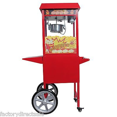 New 8 Oz Electrics Popcorn Red Antique Style Popcorn Popper Machine Stand & Cart