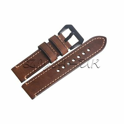 22mm Genuine Leather Brown Wristwatch Band Watch Strap Band W/ Black Buckle