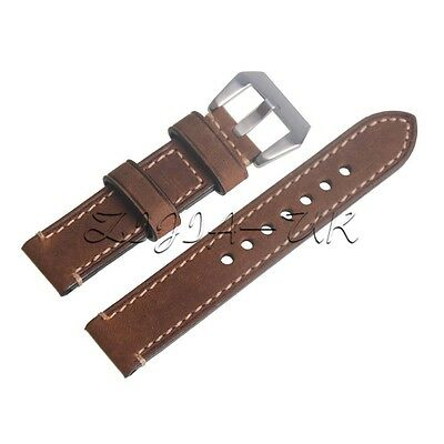 Brown 20mm Genuine Leather Wristwatch Watch Strap Band Watchband DIY Replaced