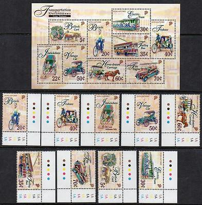 SINGAPORE MNH 1997 TRANSPORTATION LOW VALUES Stamps and minisheet