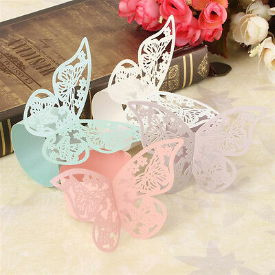 50Pcs Butterfly Napkin Ring Paper Holder Table Party Wedding Decor