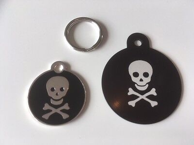 Skull and Crossbones Engraved Cat / Dog / Pet ID Name Tag - Different Sizes