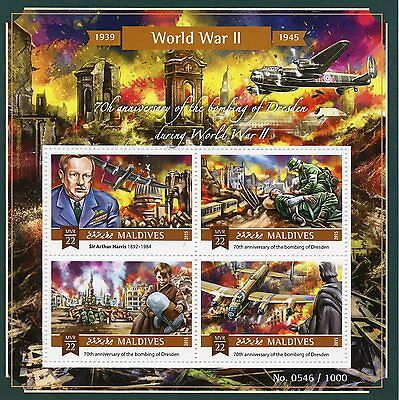 Maldives 2015 MNH WWII Second World War II Dresden Bombing 70th An 4v M/S Stamps