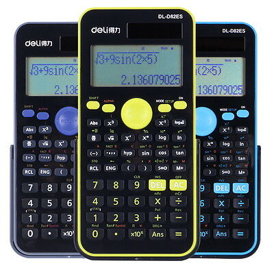 Deli Large LCD Display Electronic Scientific Calculator Solar Battery Dual Power