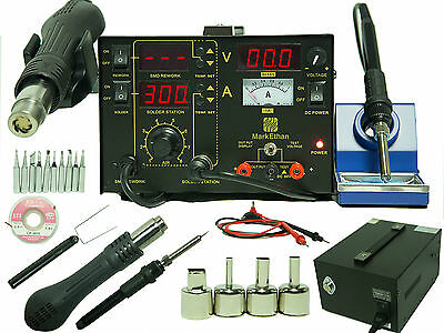 853D+ 3 in 1 Soldering Station Hot Air & Iron 853D+ 10 Tips SMD Brand new 3 in 1