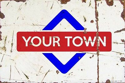 Sign Higham Ferrers Aluminium A4 Train Station Aged Reto Vintage Effect