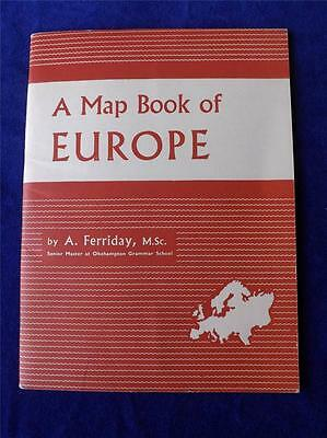 Map Book Of Europe Vintage 1959 A Ferriday Senior Master Okehampton School