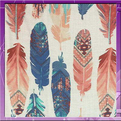 100% Rayon Challis Feather 54 Inches Wide Blush / Denim / Blue Sold Bty