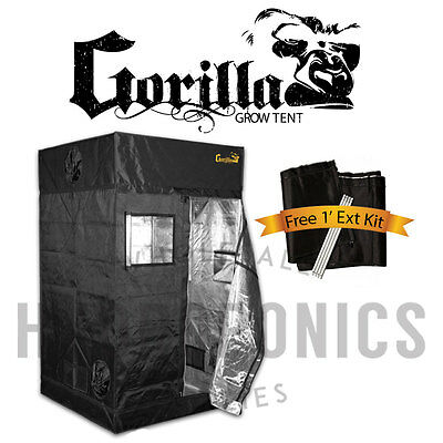 "Gorilla Grow Tent 4' x 4' x 6'11"" Grow Tent w/ *FREE 1' EXTENSION KIT 7'11""!*"