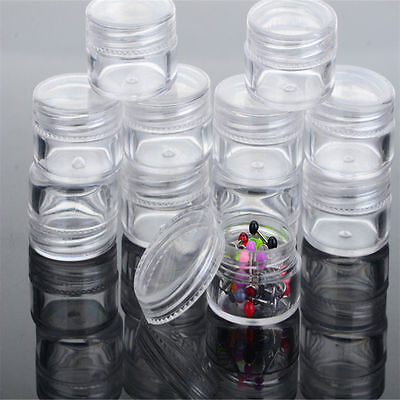 12x High Plastic Jewelry Bead Earring Pill Storage Case Round Container Jar+ Box