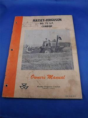 Massey Ferguson Toronto Canada No 72 S.p. Combine Owners Manual Farm Machinery