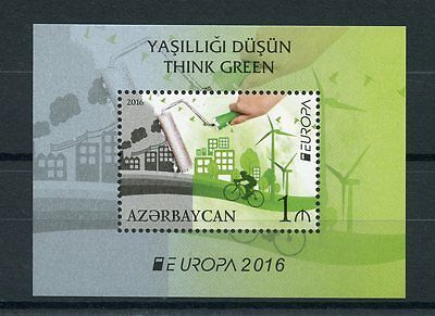 Azerbaijan 2016 MNH Think Green Europa 1v S/S Windmills Bicycles Stamps