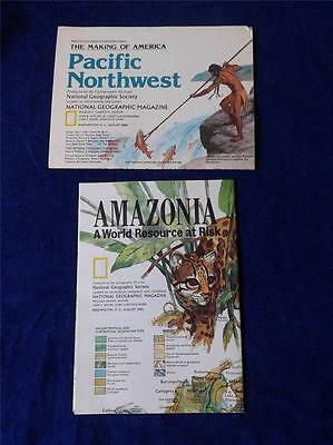 National Geographic Society Pacific Northwest 1986 Amazonia 1992 Map Information