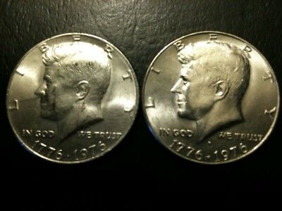 1976 P&D AU+/BU Kennedy Half Dollar Set + Free 40% SILVER HALF US 50 Cent unc ms