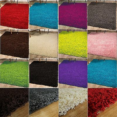 Thick Non Shed Plain Soft Shaggy Rug Small X Large Size Home Pile Modern Rugs