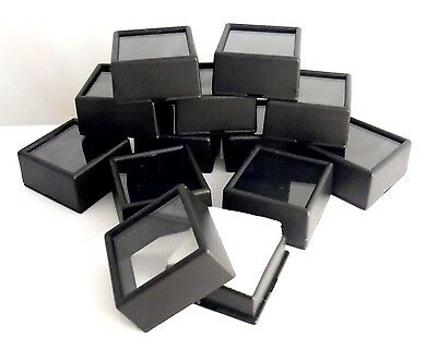 "12PC SET 1-1/2""x3/4"" Square Glass Top Gem Box storage/display gold/gems/coins"