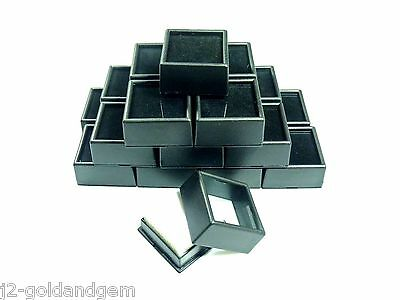 "20pcs 1-1/2"" Black Square Glass Top Gem Box/Jar storage/display gold/gems/coins"