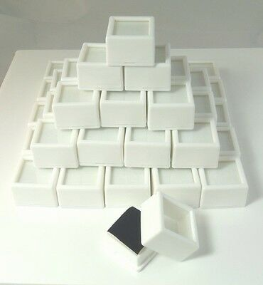 "50 PC 1-1/16x3/4"" WHITE SQUARE Glass Top Gem Box storage/display gold/gem/coin"