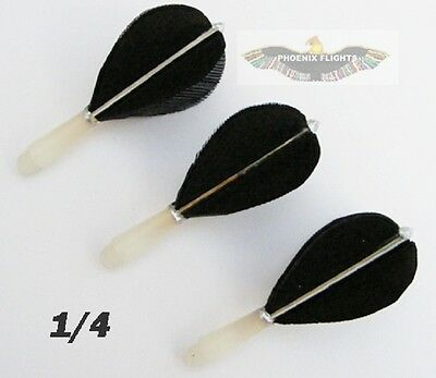 1/4 Inch Thread Short Black  Hand Made Feather Flights  1/4 Inch Old Style Darts