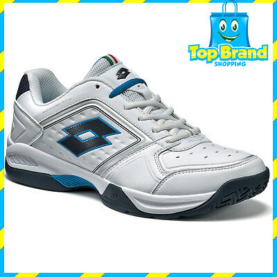 Lotto Sports Mens T-Tour VIII 600 White / Blue Tennis Court Shoes Sport White