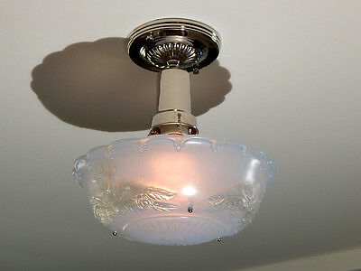 War Era Beaded Chain Ceiling Fixture Vintage Glass Shade with New Custom Fixture