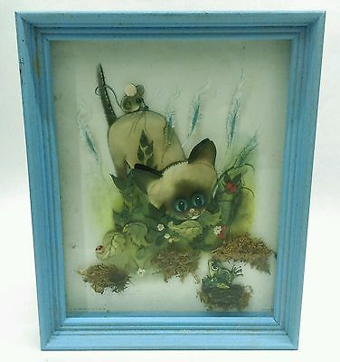 1963 3D layered dimensional  DONALD ART George Buckett Siamese cat FRAMED print