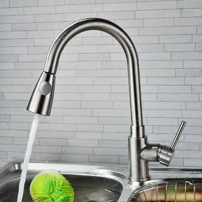 Brass Pull out Shower spray swivel kitchen basin mixer taps sink Laundry faucet
