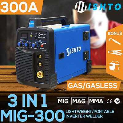 NEW 300 Amp MIG ARC Gas/Gasless Portable Inverter Welder Welding Machine MAG