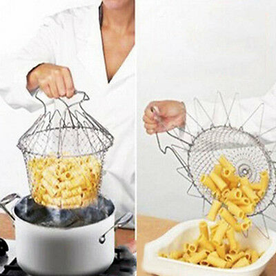Foldable Steam Rinse Strain Fry Chef Basket Strainer Net Kitchen Cooking Tool GD