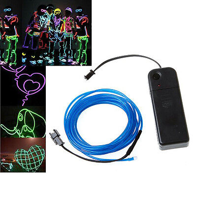 5x(3M Blue Flexible Neon Light EL Wire Rope Tube With Controller L3