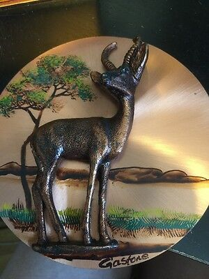 Vintage Copper Picture With Raised Stag/deer Signed Gasfone