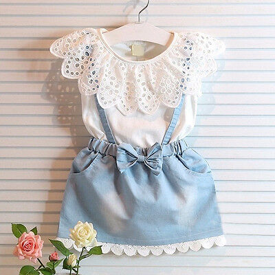 Toddler Kids Baby Girl Outfit Clothes T-shirt Tops/Overalls Dress Skirt 1PCS Set