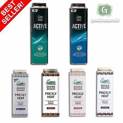 Snake Brand Body Talc Powder Prickly Heat Cooling Fresh Active See Variation
