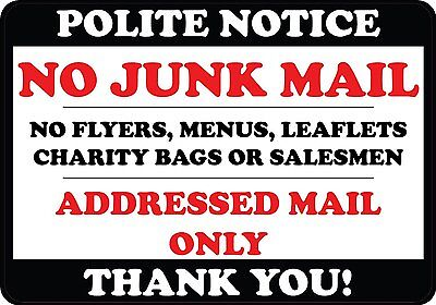 Polite Notice No Junk Mail Flyers Leaflets Menus Door Sticker sign label decal
